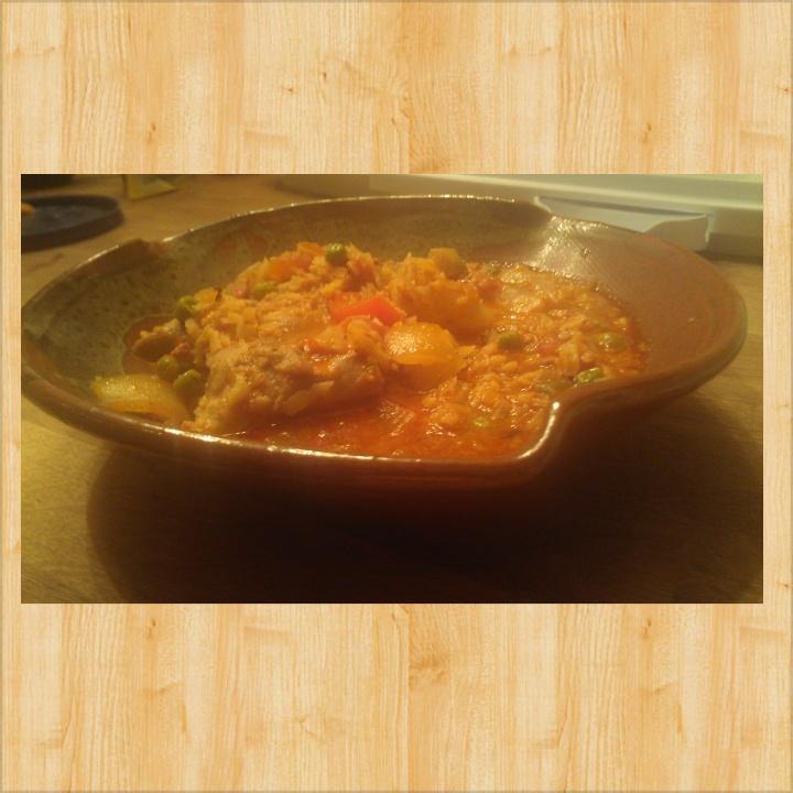 """Primal Chicken, Chorizo and Shrimp Paella made with Cauliflower """"Rice"""""""