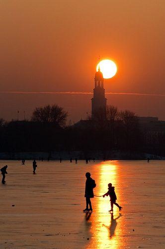 Ice Skating in Sunset ~ Hamburg, Germany