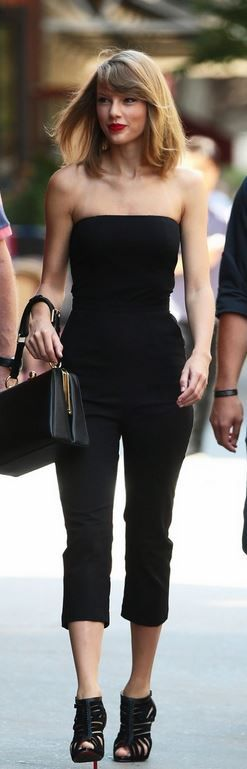 Who made Taylor Swift's black cage shoes, box handbag, and strapless jumpsuit…