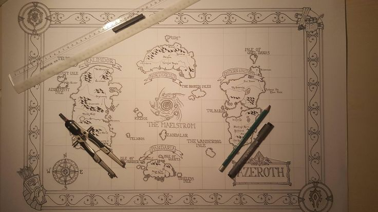 I drew a map of Azeroth by hand it's not really accurate but eh...