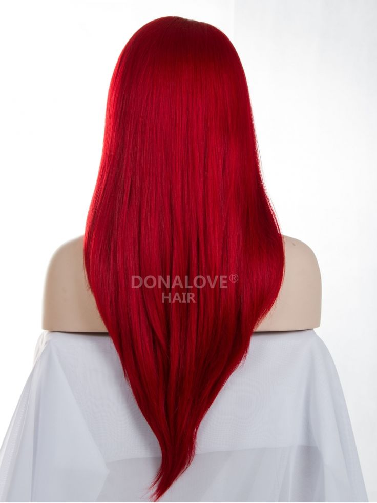 Hot Red Waist-length Straight Synthetic Lace Wig-SNY057 - Home - DonaLoveHair