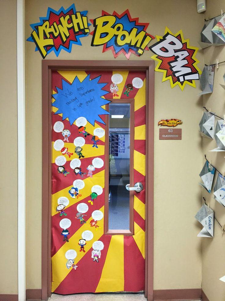 Superhero classroom doors super heroes pinterest for Decoration chambre super heros