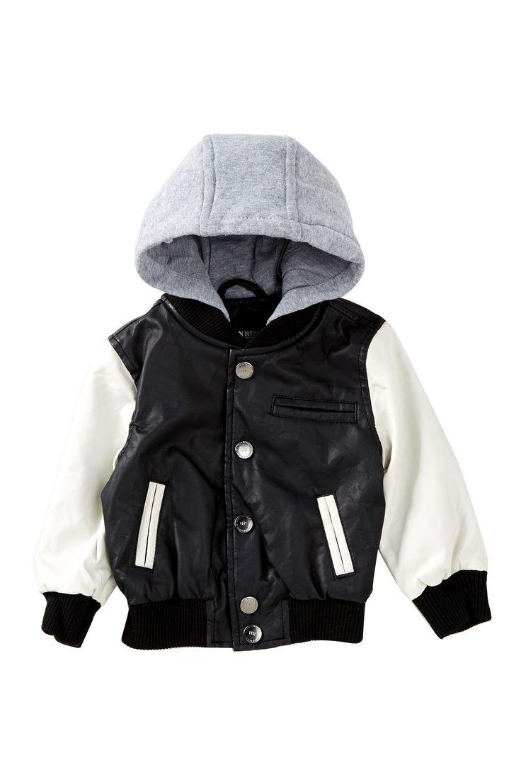 Urban Republic   Fleece Hooded Faux Leather Varsity Jacket (Baby Boys)   Nordstrom Rack