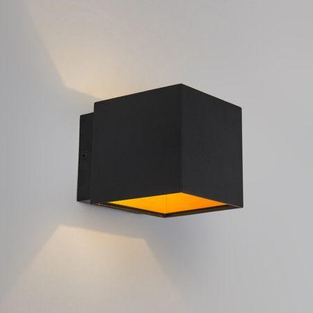 Aplique CAJA negro/oro- Lámpara de pared muy funcional, neutral y compacta que ilumina hacia arriba y hacia abajo. Un precioso diseño con un elegante toque en negro y oro.