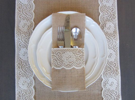Burlap silverware cutlery holders  Set of 10 by willowbloomwreaths