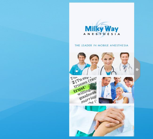 Milky Way Mobile Anesthesia utilizes their MGR #WebBook to spread out their latest services information to their partner clinics.  Milky Way Mobile Anesthesia is a licensed, mobile, physician owned in-office anesthesia group serving Arizona's progressive health care community and provide everything required to deliver the highest caliber anesthesia care as well as the recovery of patients including all supplies, medications, monitors and emergency equipment.