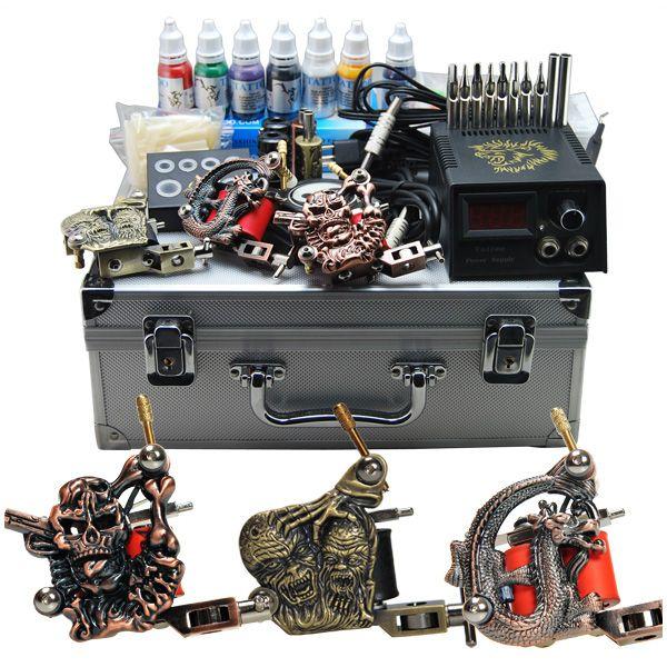 Tattoo Kit 3 Machine Guns LCD POWER/NEEDLES/INKS DH-25 [D25(3.5 USO DE)] - US$96.85 : Dragonhawk tattoo supplies, tattoo kits,tattoo machines for sale global form tattoodiy.com