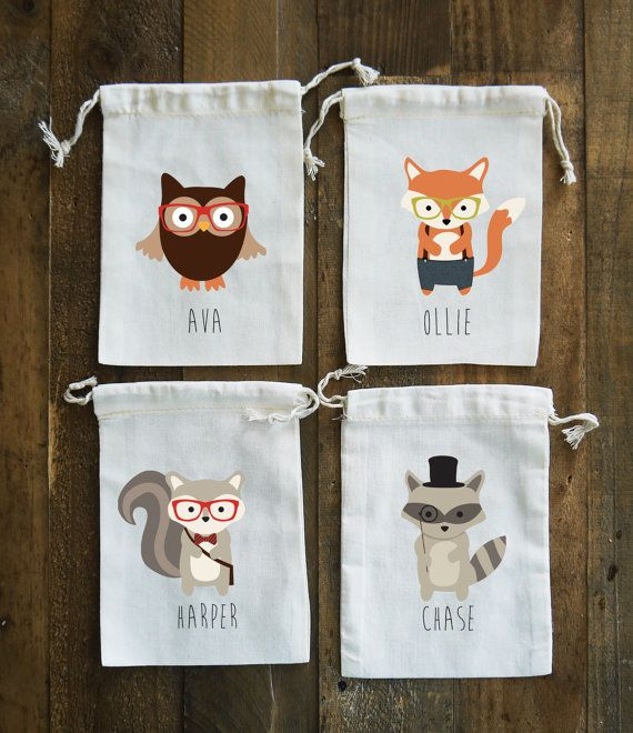 Hipster Woodland Animals Birthday Party Muslin by FINCHandFOX