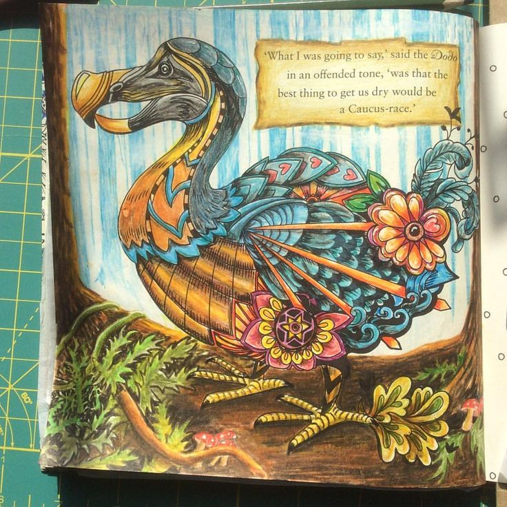 Just finished the Dodo bird in my Escape to Wonderland colouring book. I made up the background because I don't like my characters to be hanging around on a blank page! #escapetowonderland #adultcoloringbook #fabercastell #goodwivesandwarriors
