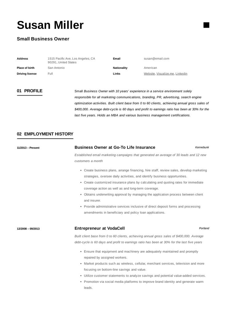 Small Business Owner Resume Template Resume guide, Small