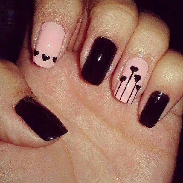 Black and Pink Hearts Design with Nail Polish Brush