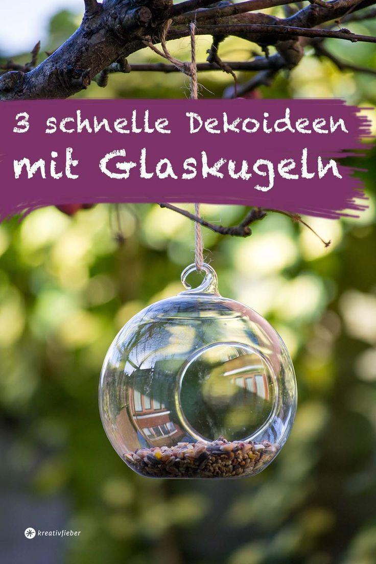 Dekodieren mit Glaskugeln, Windlicht aus Glas, Glaskugel mit Öffnung, Deko, DIY