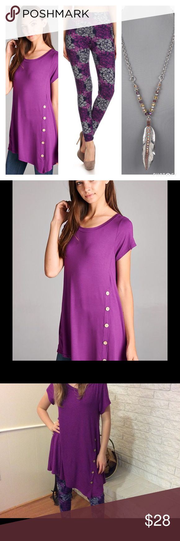 PRETTY PURPLE SIDE BUTTON TOP Lovely Purple Short Sleeve Top Cute Side Buttons Asymmetrical Hem Gorgeous with Purple Print Leggings listed & the trendy necklace (necklace coming soon) Shop the whole look!  One Size Fits Most Polyester/Spandex  NO TRADES Southern Charm Boutique Tops