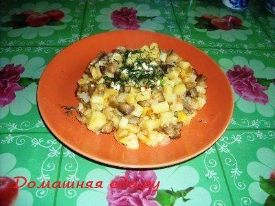 Картофель жареный с баклажанами