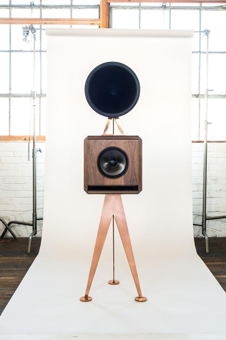 Mini loudspeaker, walnut enclosure on brushed copper stands, black horn