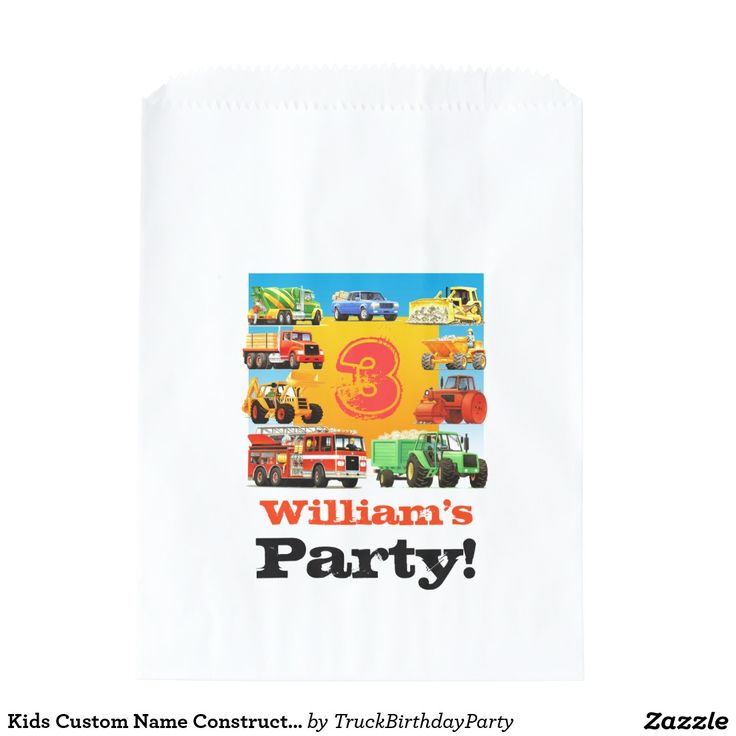 Kids Custom Name Construction Truck Birthday Party Favor Bags