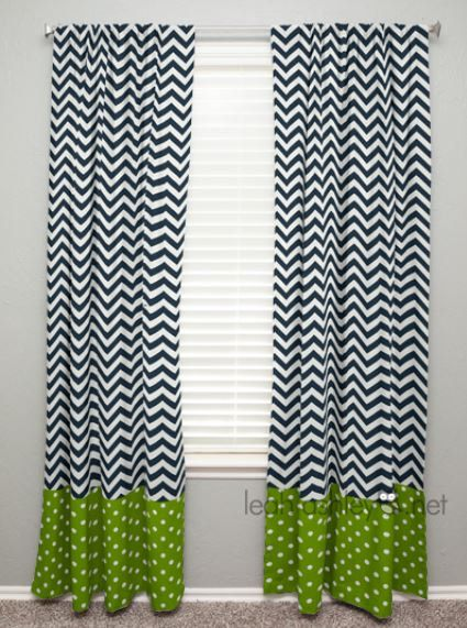 Curtain Panel With Banding Navy Chevron Lime By