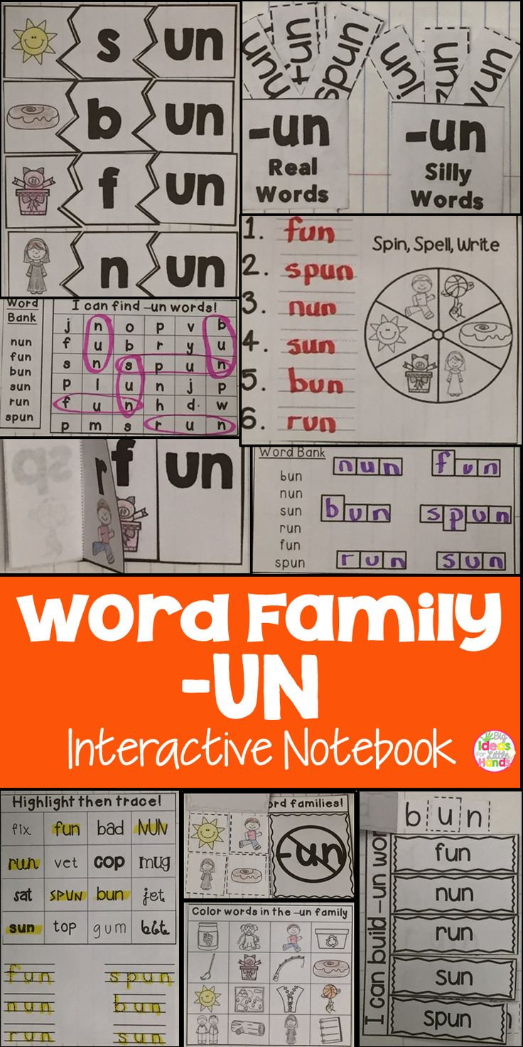 This is a Word Family Interactive Notebook to help students practice and learn CVC words and word families. There are 22 different activities for the word family -un to help your students master the word family. You may choose which activities are best for your students. The activities include: - Sort by word family - Word Family Word Search - ABC Order - Roll, Write, Graph - Spin, Write, Graph - Real & Not Real Pockets - Building Words - Highlight then Trace - Color the Pictures - Decorate…