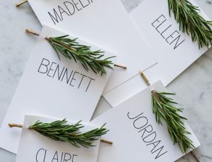 10 Practically Free Place Cards For Thanksgiving: Herbs and paper