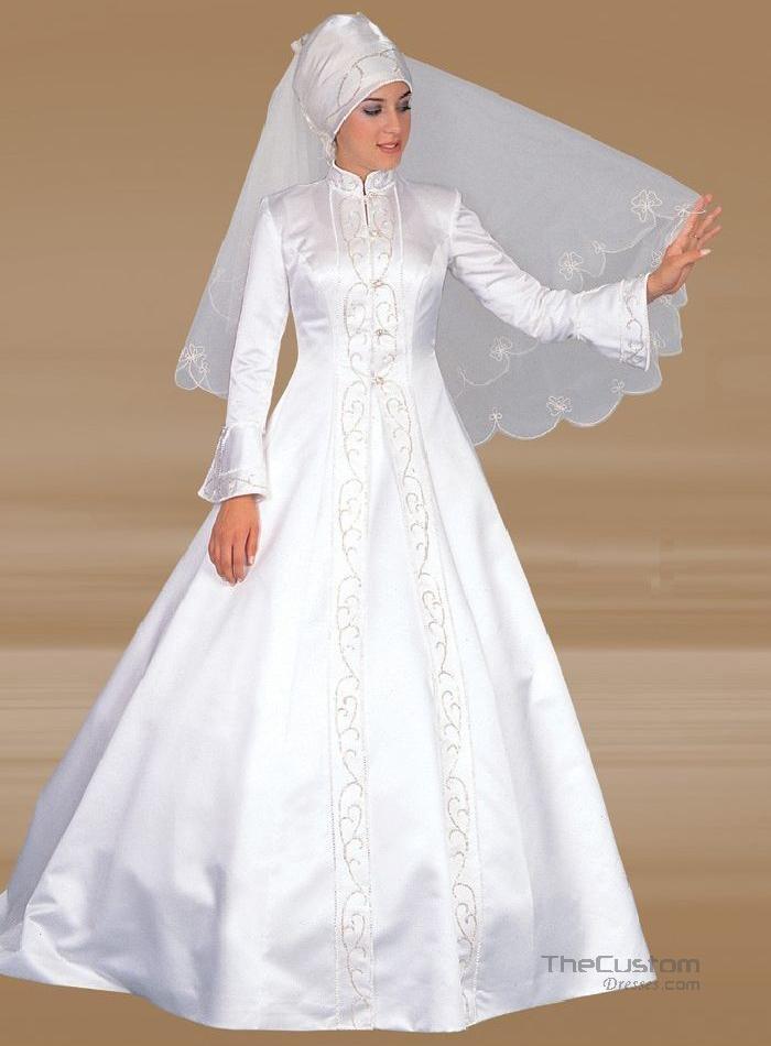 A-line High Neck Court Satin Muslim Wedding Dresses 999WD0039