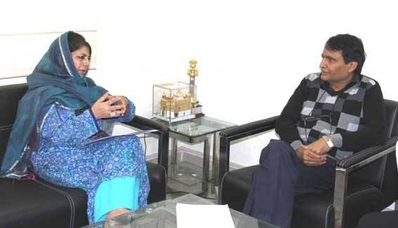 Chief Minister Mehbooba Mufti in a meeting with Railways Minister Suresh Prabhu in New Delhi.