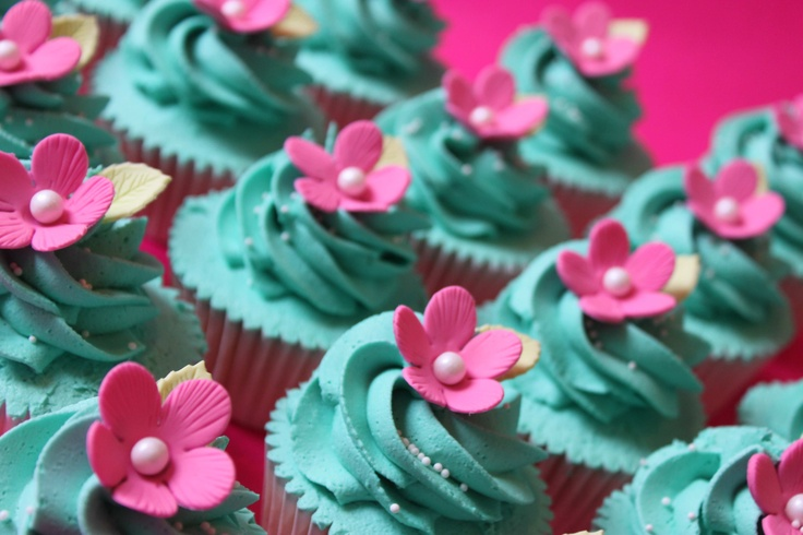 @Jessica Quillen turquoise and hot pink cupcakes