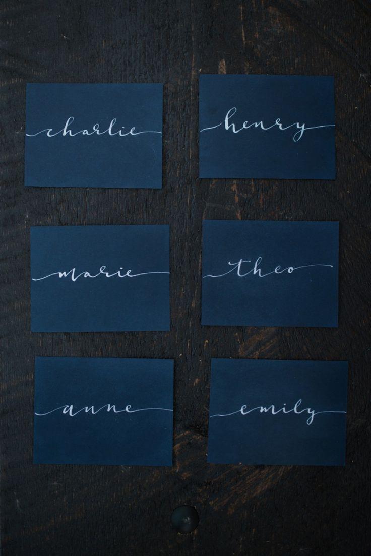 Calligraphy Placecards: Van Gogh Wedding Style Inspiration | Calligraphy by HOOKED Calligraphy |Photo Credit: L&E Photography | Minneapolis MN  | calligraphy, modern calligraphy, blue wedding ideas, moody wedding, dark wedding