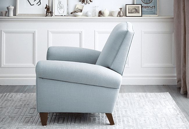 Sure, recliners are comfortable, but too often they're also eyesores. That's why we designed our own line of recliners, without the  ugly levers and bulky proportions. Available only here, these  chairs are as gorgeous to look at as they are blissful to sit in.