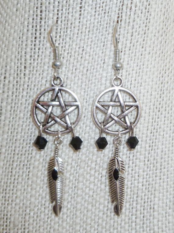 Pentacle 'dreamcatcher' earrings with tibetan by MastersofTincture