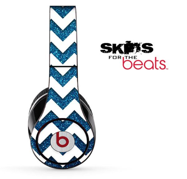 Blue Sparkle and White Chevron Pattern Skin for the Beats by Dre Solo,