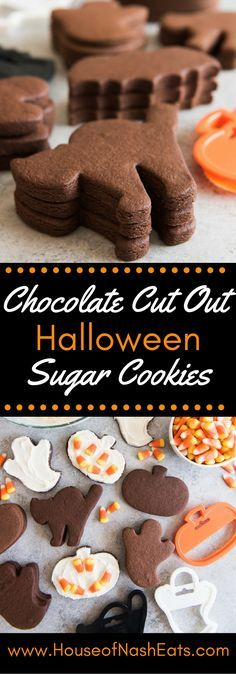 These Easy Chocolate Cut Out Sugar Cookies hold their shape and have great chocolatey, buttery flavor that is perfect with either royal icing or a regular buttercream frosting. Great for Halloween, Valentine's Day, or anytime! #Choctoberfest