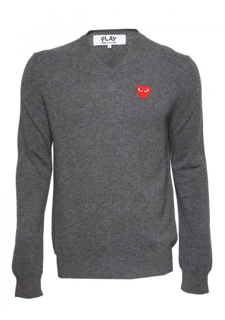 Comme Des Garcons Clothing | PLAY Mens Red Heart V Neck Jumper Grey | Buy Comme Des Garcons Play Clothing Online #commedesgarcons #jumper #hervia
