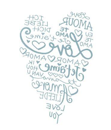 .corazón con la palabra amor en distintos idiomas para transferir