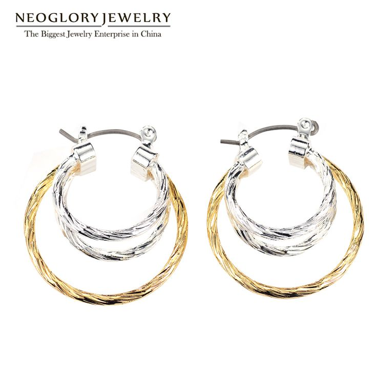 Neoglory Fashion Dazzling Clip Earrings Two Tone Triple Women Allergy-free Christmas Jewelry Silvery Color Gold Color New FA