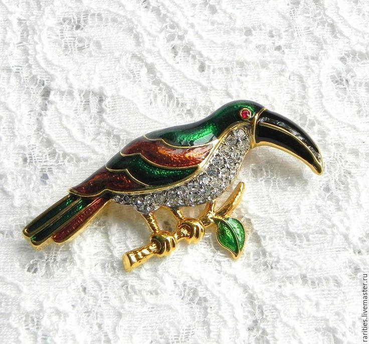 Купить Брошь Тропическая птица,Kirks Folly,США,птица,птичка,брошка,в подарок - брошь