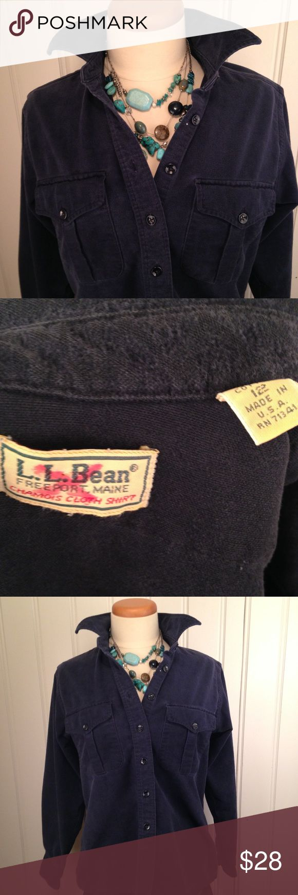 L.L. Bean women's chamois shirt navy blue size sm Perfectly vintage L.L. Bean women's chamois shirt Size small 100% cotton Wonderfully soft and broken in.  If you are familiar with Bean's chamois shorts, this is how you want them.  They get softer with age and take on an almost velveteen sheen.   Super warm thick flannel, a timeless classic.   Good condition, some wear on the sleeves ( see photo) .  Chamois is worn but this improves the feel. L.L. Bean Tops Button Down Shirts