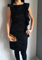 asos elegancka sukienka koktajlowa  mała czarna falbana ołówkowa S