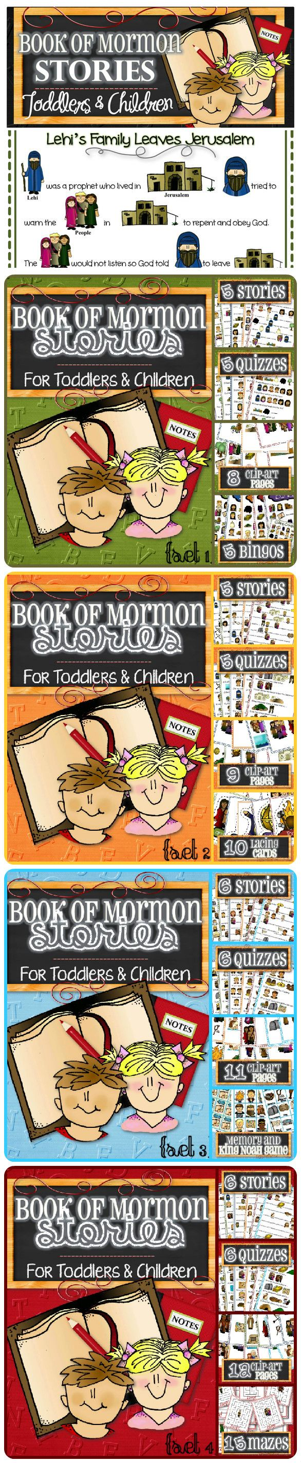 "Complete Book of Mormon Stories (For Toddlers and Children) - INSTANT DOWNLOAD - An easy and fun way to teach toddlers and children Book of Mormon Stories. These colorful pages with over 20 stories make it simple, interactive and keep little ones engaged!  Each Set Includes: - Simplified Stories - Fun Quizzes - Clip-art and Graphics - Games and Activities - Character Guide. Get ""Lehi's Family Leaves Jerusalem"" and quiz for FREE!"