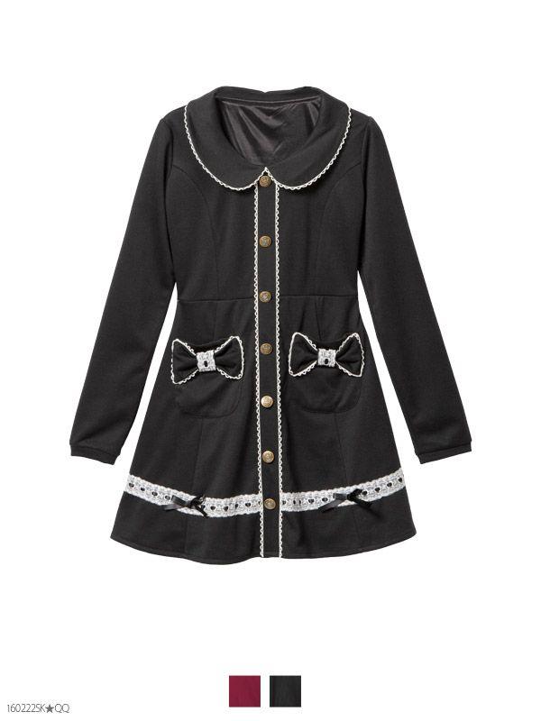 丸襟裾リボンレース&リボンポケットポンチカットソーワンピ-ス