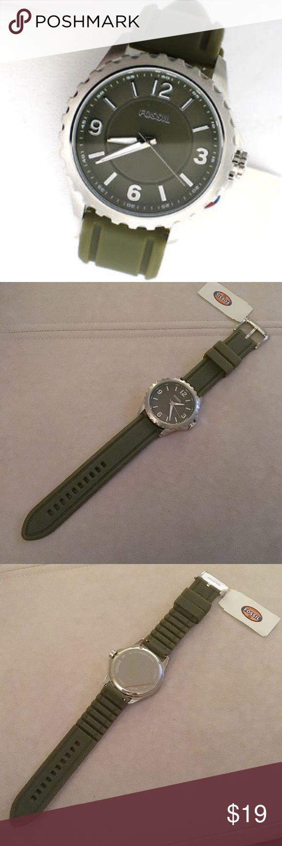 Silicon Fossil Watch NWT 🎉 Men's silicon hunter green Fossil watch with silver hardware. NWT. Never warn and in great condition. The battery is running but the hands in the face are slightly loose and can move faster than the actual time. This can be repaired through Fossil - is covered under the warranty!! Authentic! No trades! Fossil Accessories Watches