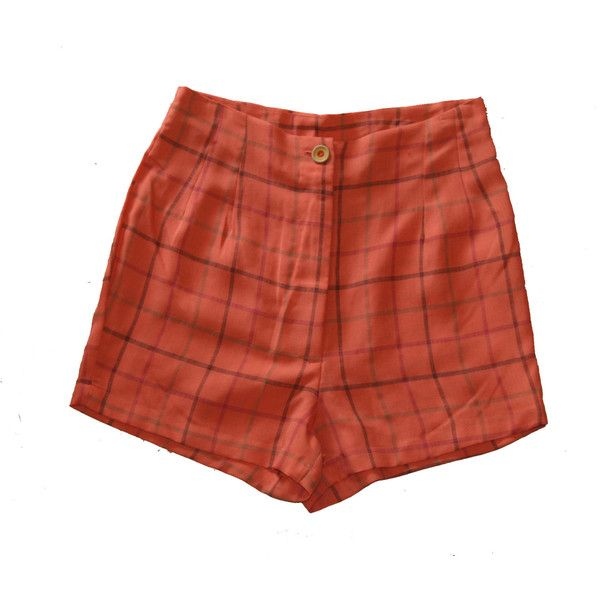 High Waisted Women Shorts Plaid Shorts Orange Red Checkered ($12) ❤ liked on Polyvore featuring shorts, grey, women's clothing, red high waisted shorts, grey shorts, red shorts, grey high waisted shorts and checkered shorts