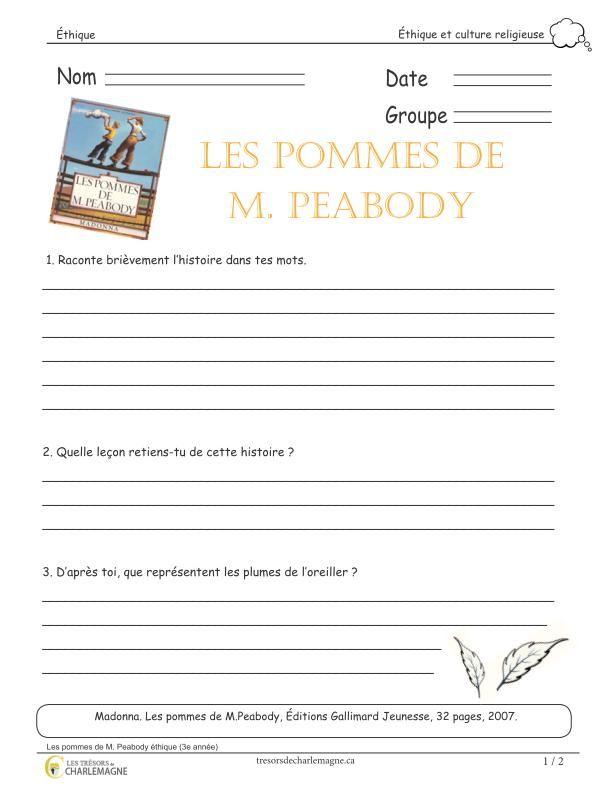 Ce court exercice doit être effectué après avoir fait la lecture de l'album ''Les pommes de M. Peabody'', de Madonna. Vous pourrez alors parler de l'amitié, de l'acceptation des autres, du rejet et des relations interpersonnelles dans un groupe et des rumeurs. Vous pourrez également compléter le tout avec un art plastique à réaliser et une appréciation d'une image du livre. Ce document comprend 2 pages. 2e cycle,3e année,3e cycle,4e année,5e année,6e année,acceptation,amitité,Caroline…