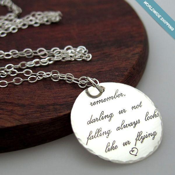 Inspirational Quote Necklace. Custom Engraved Sterling Silver Pendant Disc #NadinArtDesign #Pendant