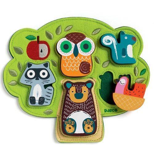 Puzzlebaum mit Waldtieren, Reliefpuzzle Oski, aus Filz und Holz, von Djeco