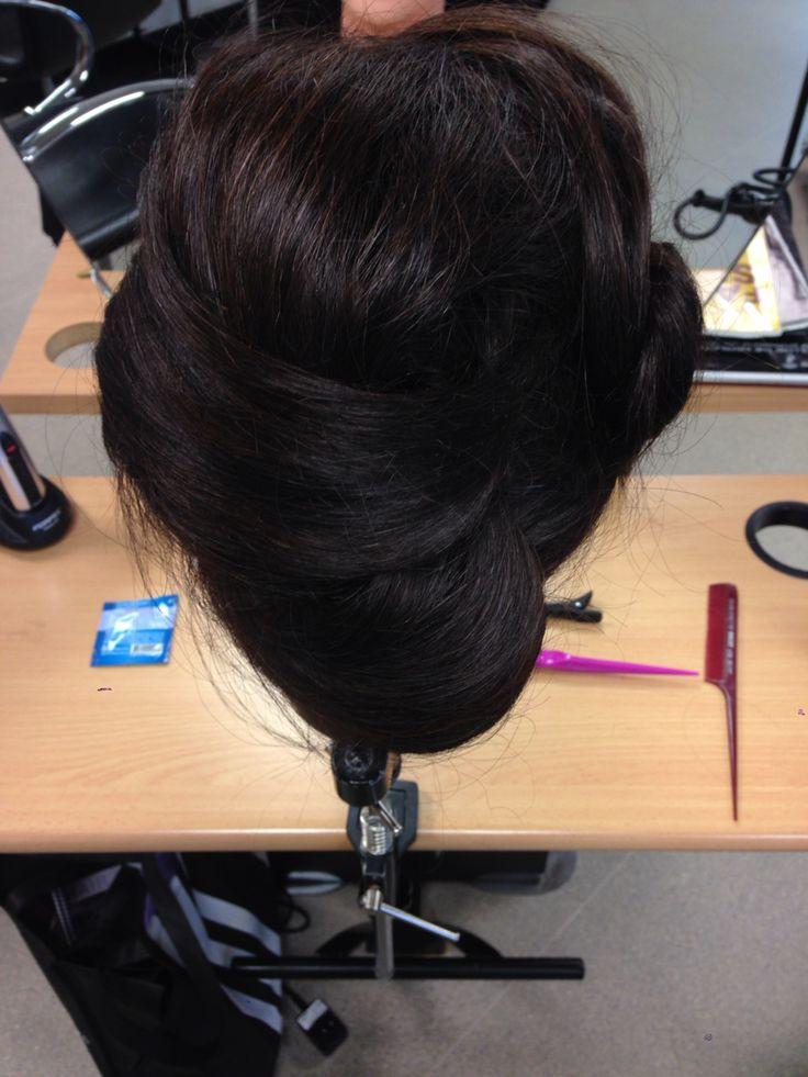 Back view of chignon pin curls