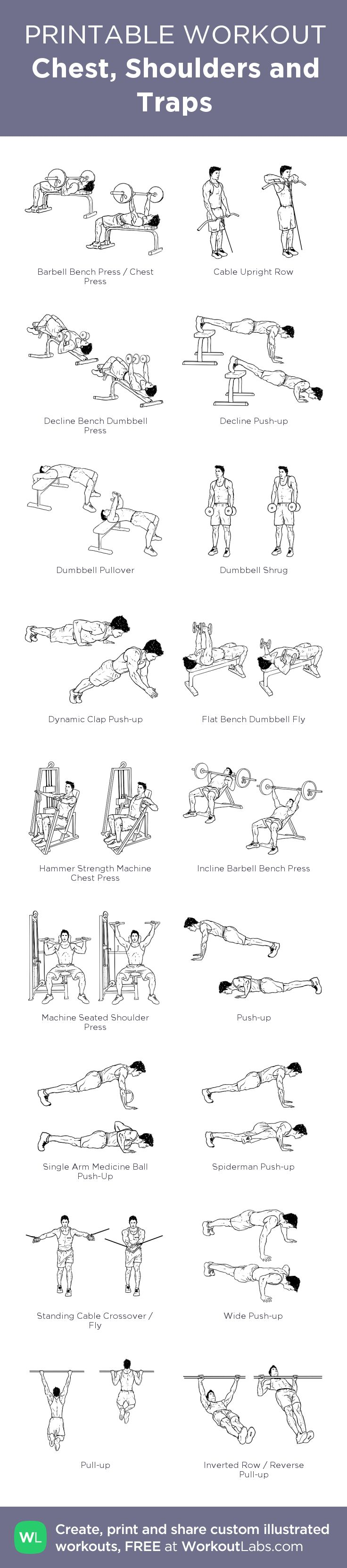 Chest, Shoulders and Traps:my visual workout created at WorkoutLabs.com • Click through to customize and download as a FREE PDF! #customworkout