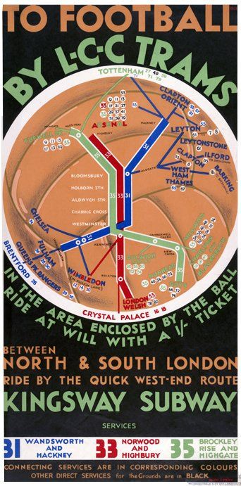 London Tram Football poster, including Clapton FC