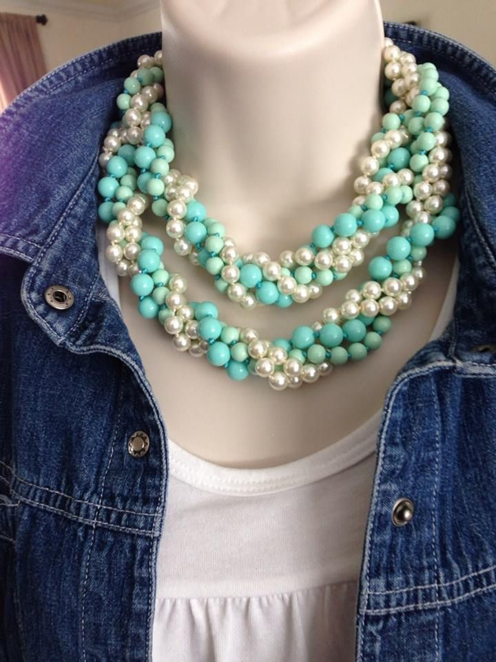 Premier Designs Jewelry - Opening Night and Seabreeze combination to spice up the blue jean jacket!