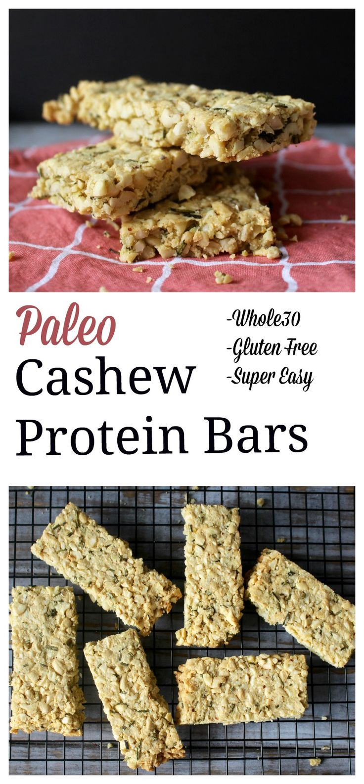 Paleo Cashew Protein Bars- super easy to make and so delicious! Whole30, gluten free, and low carb!