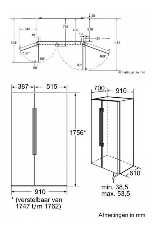 70 cm diep side-by-side koelkast KAN62A75